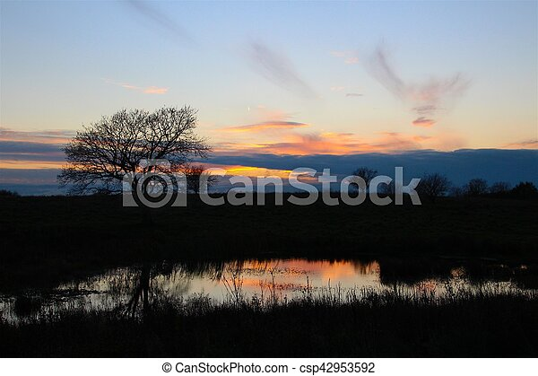 Sunset beauty at small pond - csp42953592