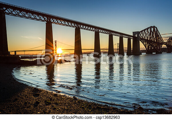 Sunset between the two bridges in Scotland - csp13682963