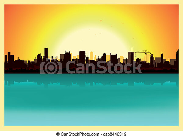 landscape sunset drawing. sunset city landscape csp8446319 drawing l