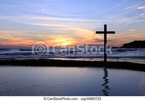 Sunset cross - csp34993723