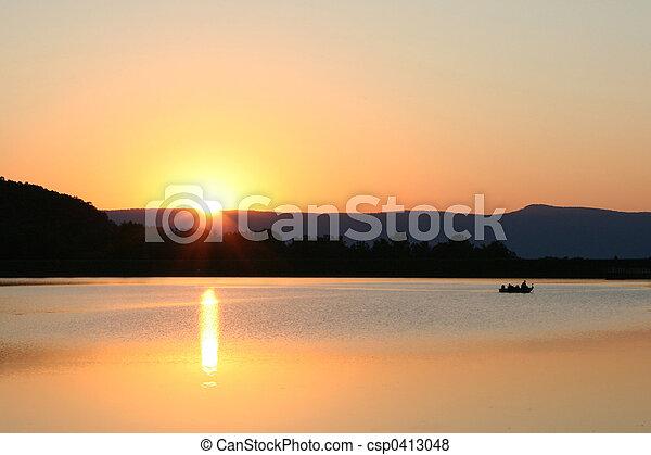 Sunset Fishermen - csp0413048