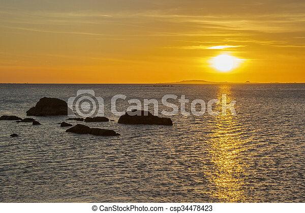 Sunset from Corrubedo Cape - csp34478423