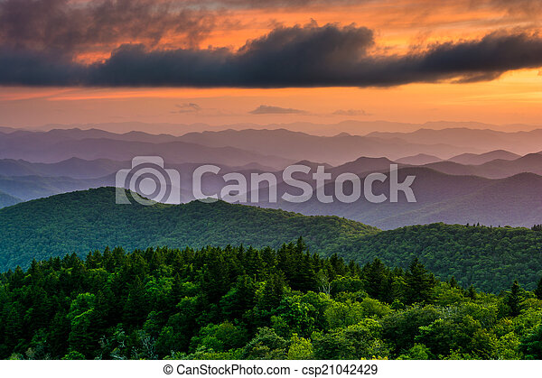 Sunset from Cowee Mountains Overlook, on the Blue Ridge Parkway  - csp21042429