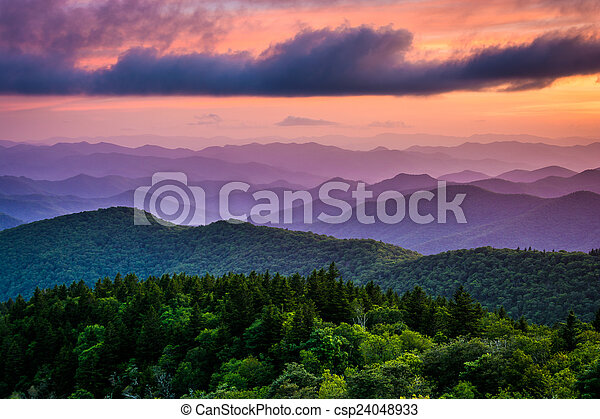 Sunset from Cowee Mountains Overlook, on the Blue Ridge Parkway  - csp24048933