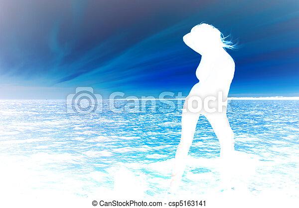 sunset girl - csp5163141