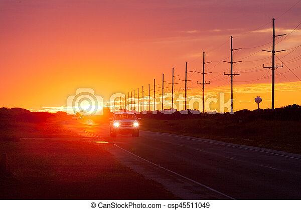 Sunset highway traffic Hatteras Island OBX NC US