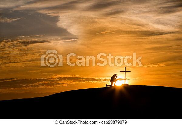 Sunset Hill Praying Cross - csp23879079