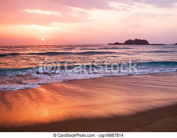 Sunset in a spanish beach - csp16687814