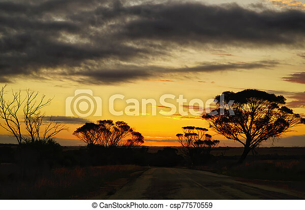 sunset in Australian outback - csp77570559