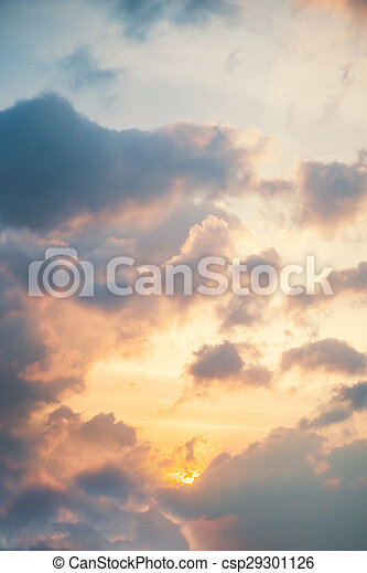 Sunset in clouds. Beautiful aerial view of heaven. - csp29301126