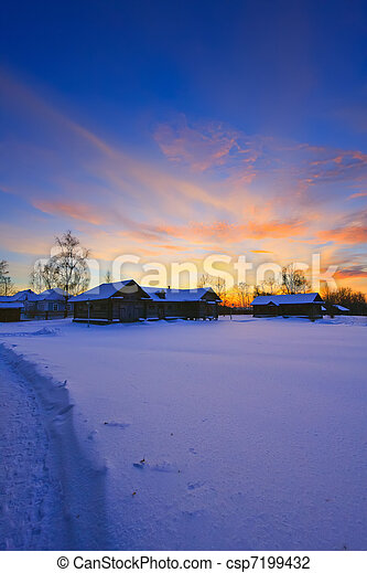 Sunset in countryside at winter, Russia - csp7199432