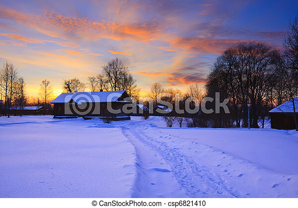 Sunset in countryside at winter - csp6821410