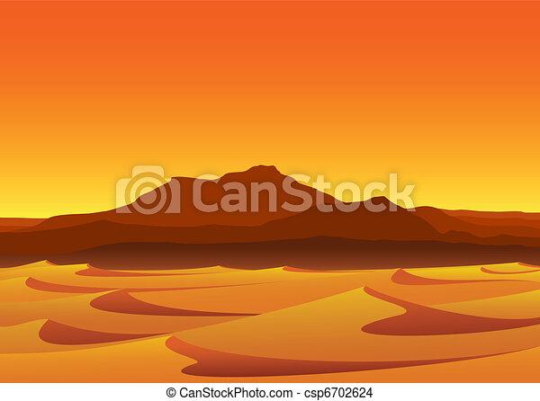 Sunset in Desert - csp6702624