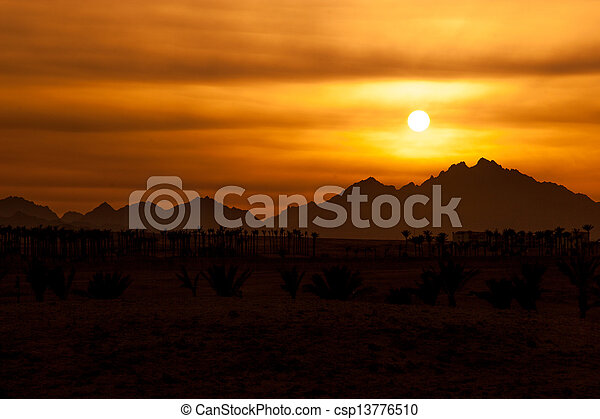 Sunset in Desert - Sahara Rocky Mountains - csp13776510