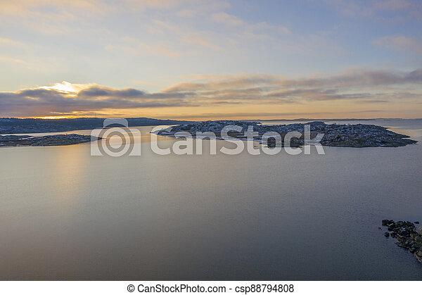 Sunset in Gothenburg drone photo - csp88794808