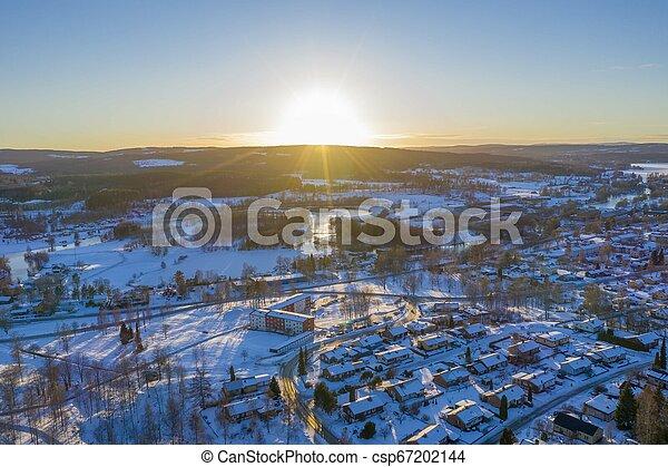 Sunset in Smedjebacken drone photo - csp67202144