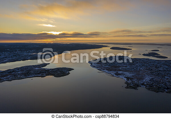 Sunset in Sweden drone photo - csp88794834