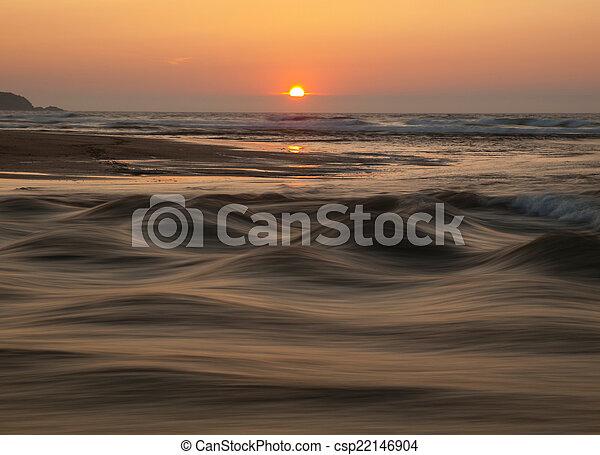 Sunset in the beach, Galicia, Spain. - csp22146904