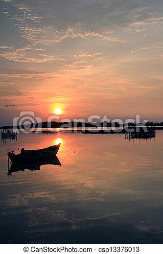 sunset in the beach - csp13376013