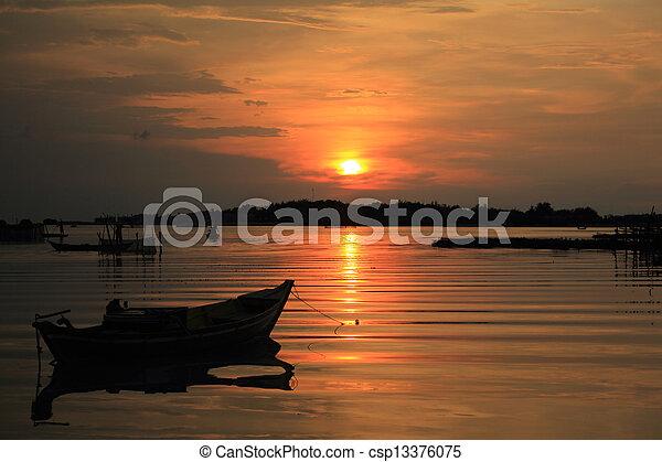 sunset in the beach - csp13376075