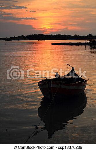 sunset in the beach - csp13376289