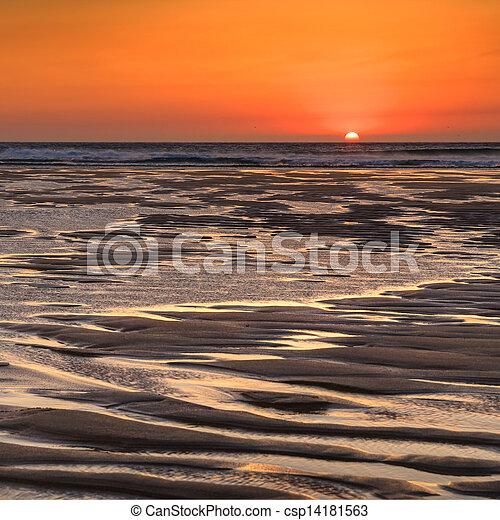 Sunset in the beach - csp14181563