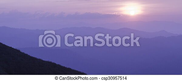 Sunset in the mountain - csp30957514