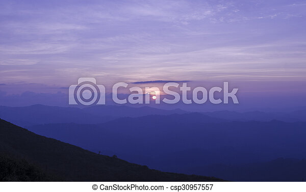 Sunset in the mountain - csp30957557