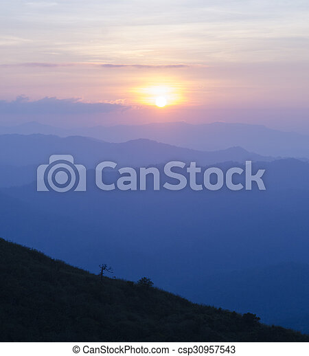 Sunset in the mountain - csp30957543