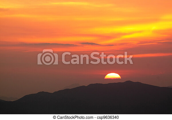 sunset in the mountain - csp9636340