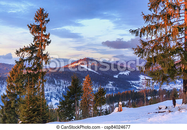 Sunset in the mountains - csp84024677