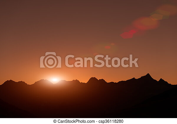 Sunset in the mountains - csp36118280