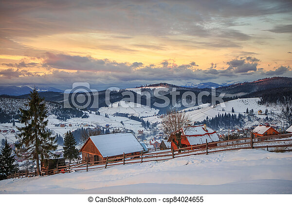 Sunset in the mountains - csp84024655