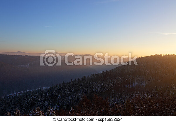 sunset in the mountains - csp15932624
