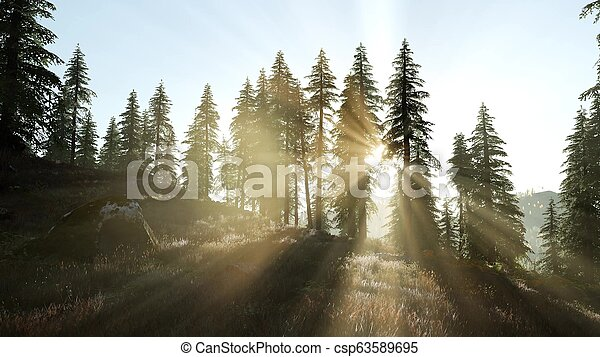 sunset in the mountains - csp63589695