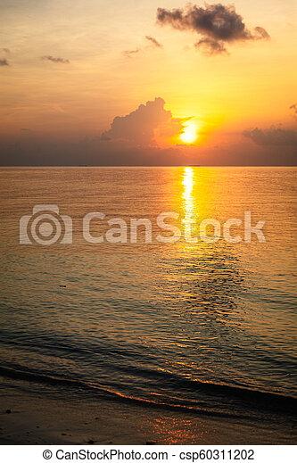 Sunset in the ocean. Maldives - csp60311202