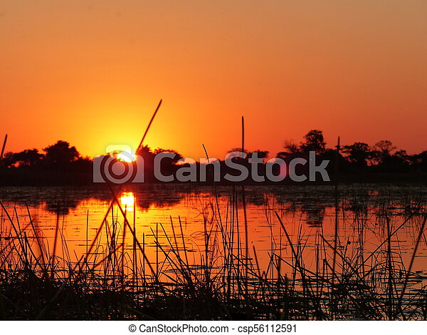 Sunset in the river - csp56112591