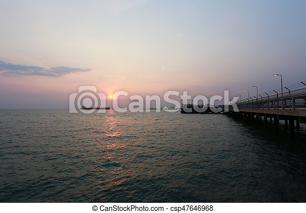 sunset in the sea on evening. - csp47646968