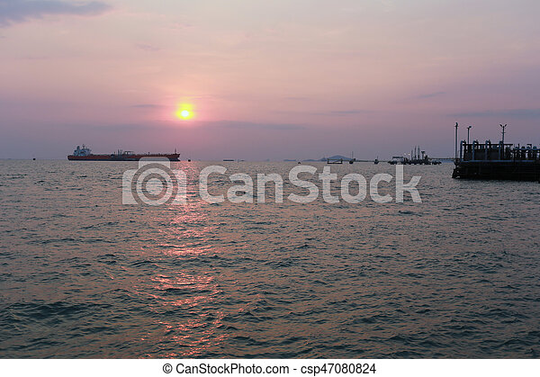 sunset in the sea. - csp47080824
