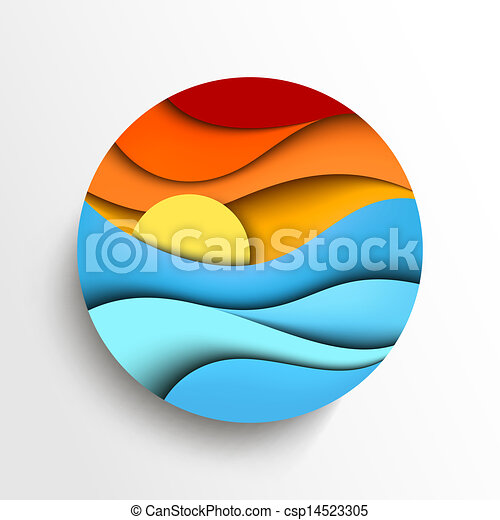 Sunset in the sea. Vector icon illustration - csp14523305