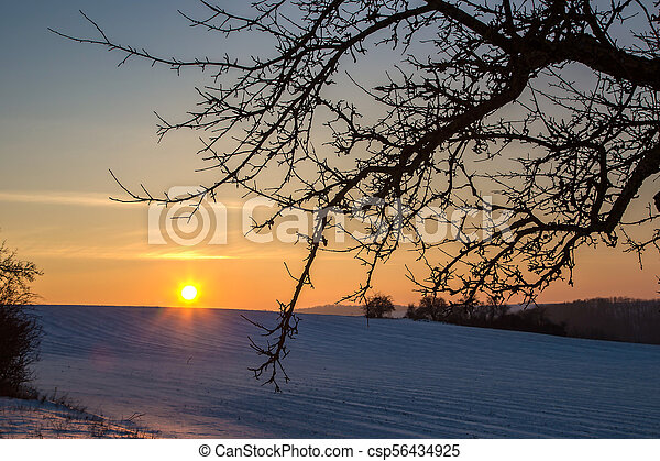 Sunset in the winter - csp56434925
