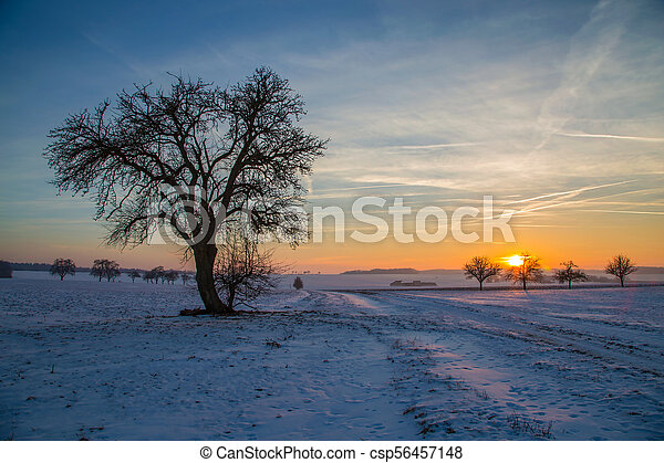 Sunset in the winter - csp56457148