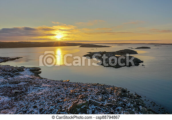Sunset in winter drone photo - csp88794867