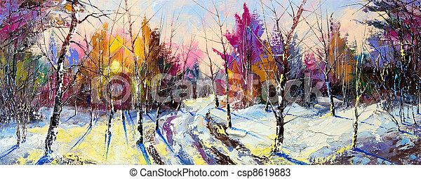 Sunset in winter wood - csp8619883