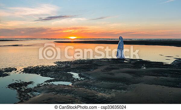 Sunset Jesus Christ Jesus Christ Walking At A Beach As The Sun Goes