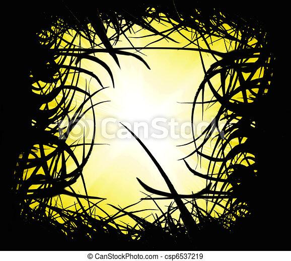 sunset landscape with grass  - csp6537219