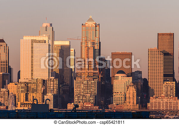 Sunset light over the skyscrapers of downtown Seattle, Washington, USA. - csp65421811