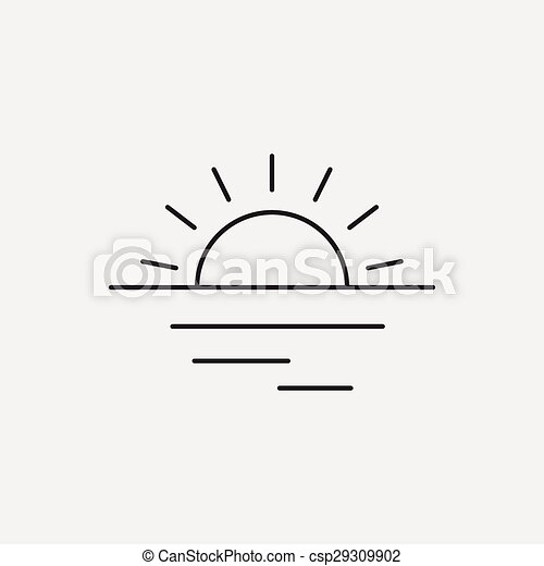 sunset line icon vector clipart search illustration