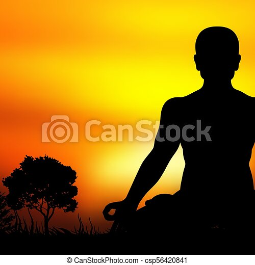 Sunset Meditation Silhouette Vector Background Illustration Of Yoga Silhouette Sunset Meditation And Relaxation