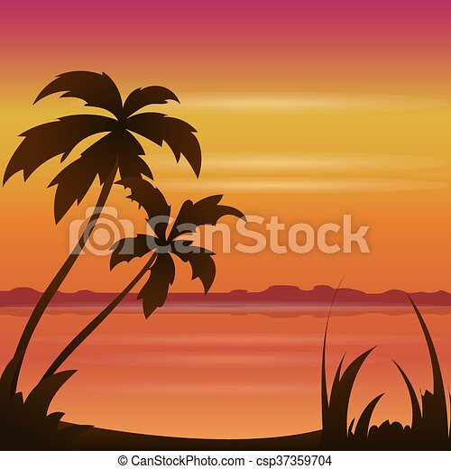 Sunset Ocean Summer Beach With Tropical Palm Tree Over Horizon Vector